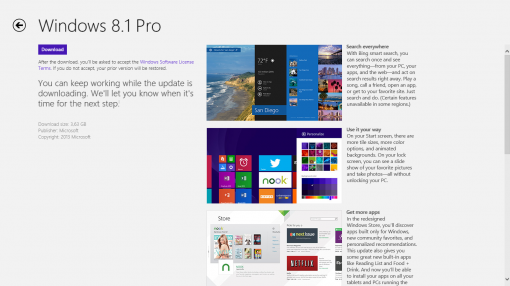 WIndows 8.1 update screen