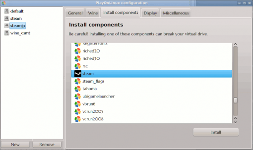 PlayOnLinux configuration - Install Component - Steam