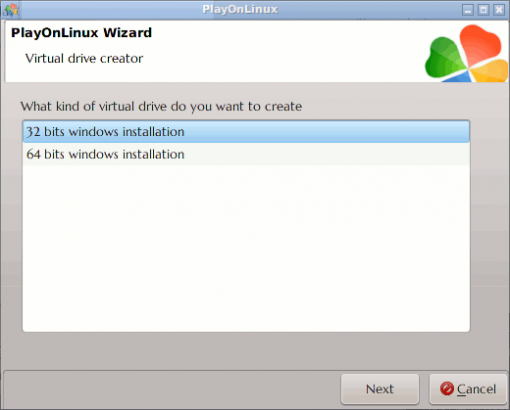 PlayOnLinux's Virtual Drive: Choose Architecture type