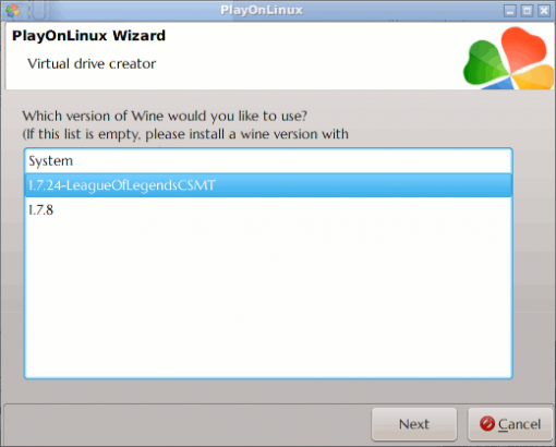 PlayOnLinux's Virtual Drive: Choose WINE Version