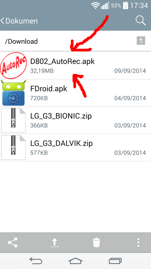 Click the AutoRec APK to install it