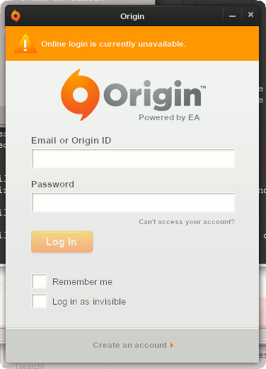 Origin: Online login is currently unavailable