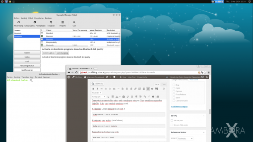 browser: Chromium, console: Gnome Terminal, pemasang: Synaptic