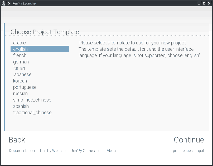 Select primary language for your new project.