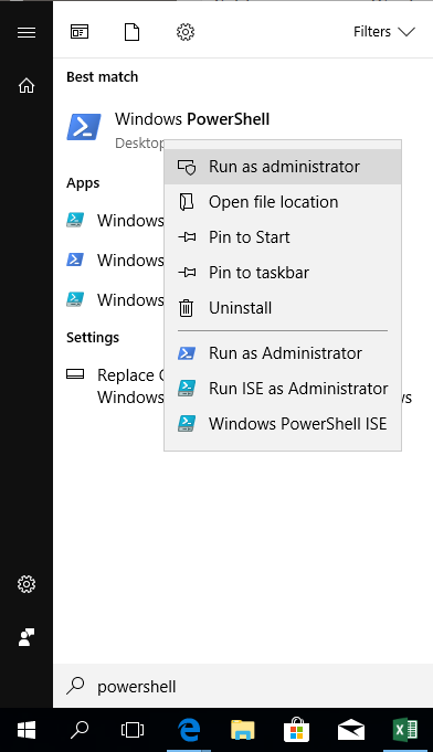 Run Windows Powershell as administrator